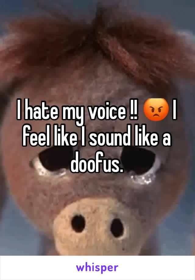 I hate my voice !! 😡 I feel like I sound like a doofus.