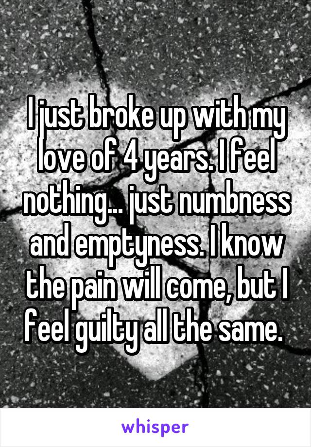 I just broke up with my love of 4 years. I feel nothing... just numbness and emptyness. I know the pain will come, but I feel guilty all the same.