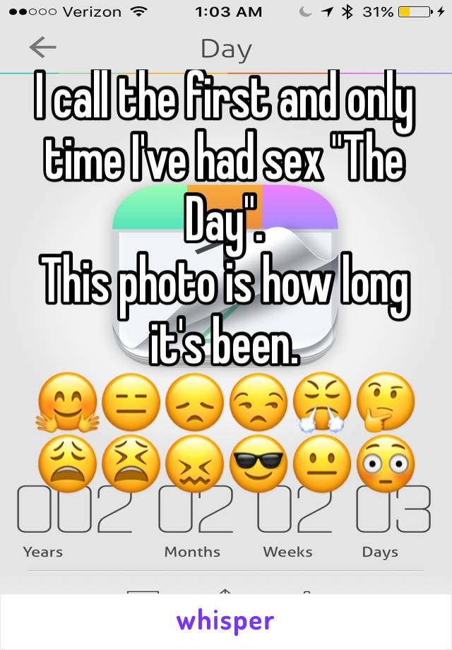 "I call the first and only time I've had sex ""The Day"".  This photo is how long it's been.  🤗😑😞😒😤🤔😩😫😖😎😐😳"