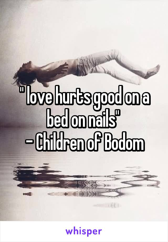 """"""" love hurts good on a bed on nails""""  - Children of Bodom"""