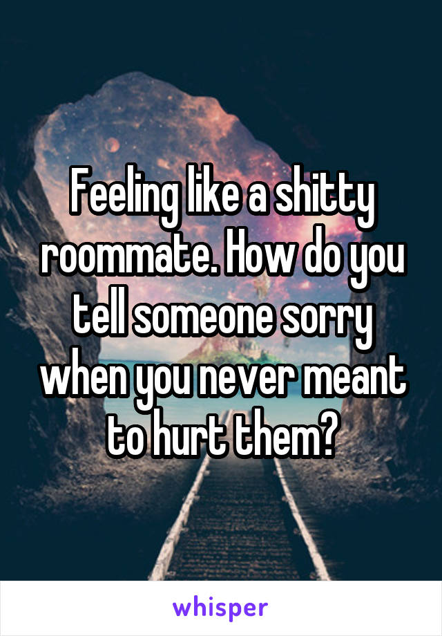 Feeling like a shitty roommate. How do you tell someone sorry when you never meant to hurt them?