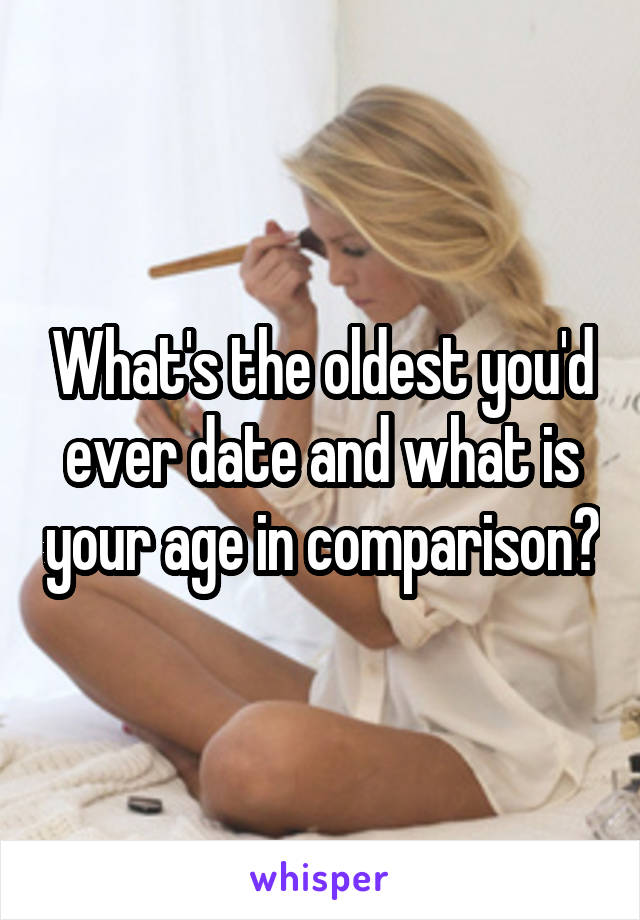 What's the oldest you'd ever date and what is your age in comparison?