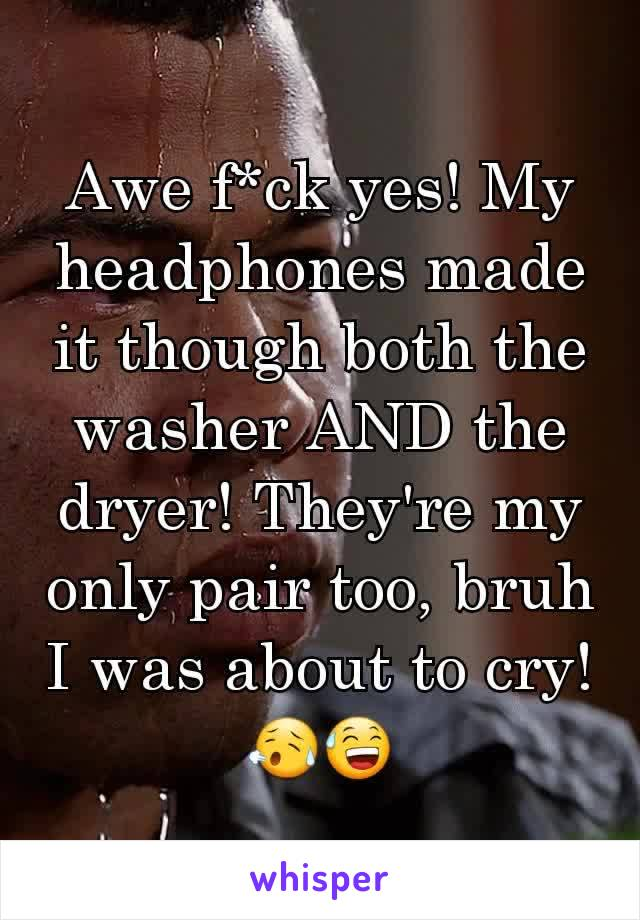 Awe f*ck yes! My headphones made it though both the washer AND the dryer! They're my only pair too, bruh I was about to cry! 😥😅