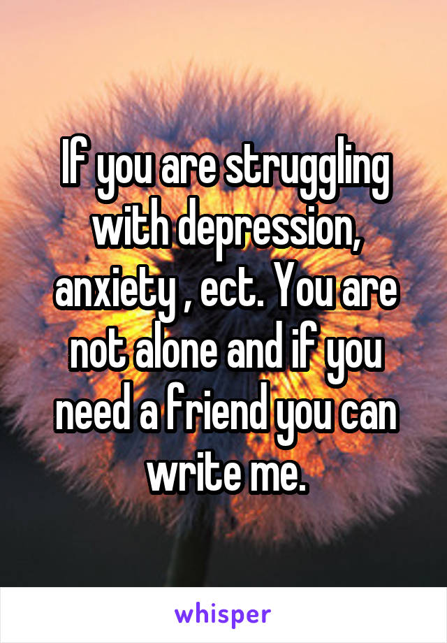 If you are struggling with depression, anxiety , ect. You are not alone and if you need a friend you can write me.