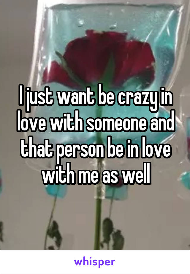 I just want be crazy in love with someone and that person be in love with me as well