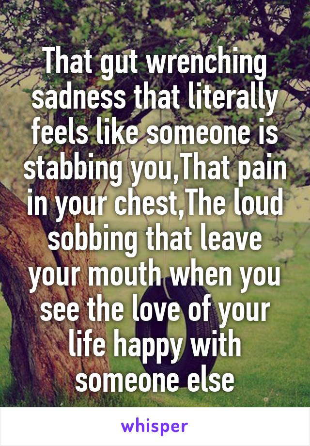 That gut wrenching sadness that literally feels like someone is stabbing you,That pain in your chest,The loud sobbing that leave your mouth when you see the love of your life happy with someone else