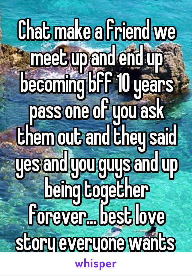Chat make a friend we meet up and end up becoming bff 10 years pass one of you ask them out and they said yes and you guys and up being together forever... best love story everyone wants