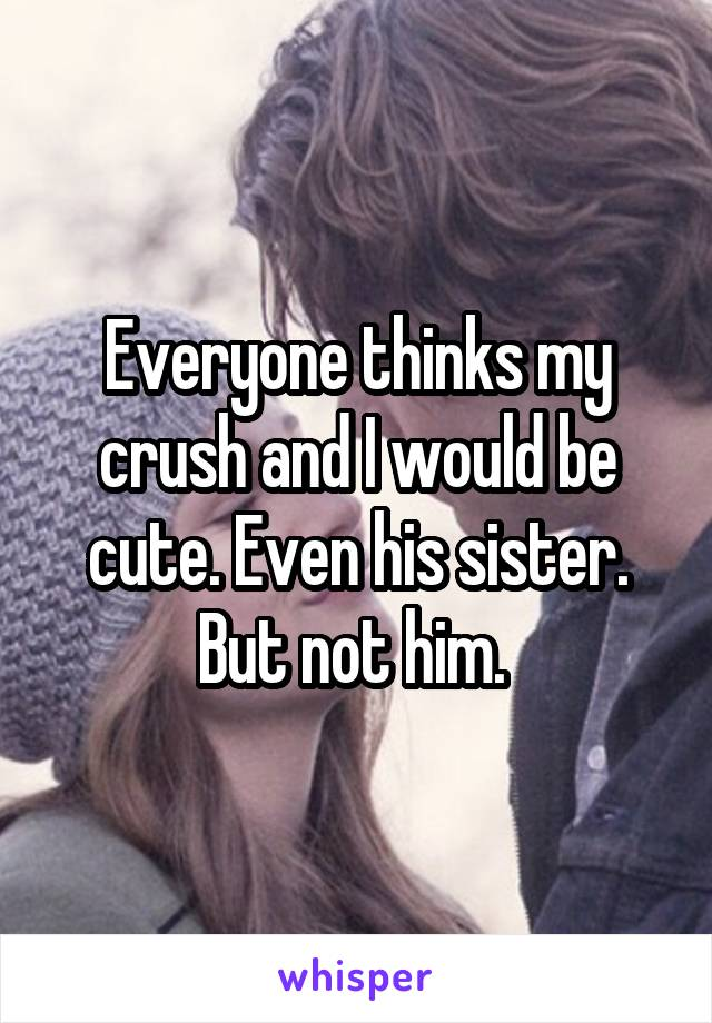 Everyone thinks my crush and I would be cute. Even his sister. But not him.