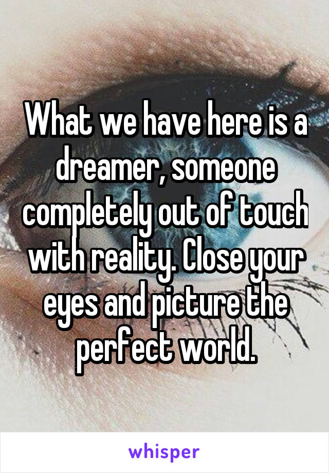 What we have here is a dreamer, someone completely out of touch with reality. Close your eyes and picture the perfect world.