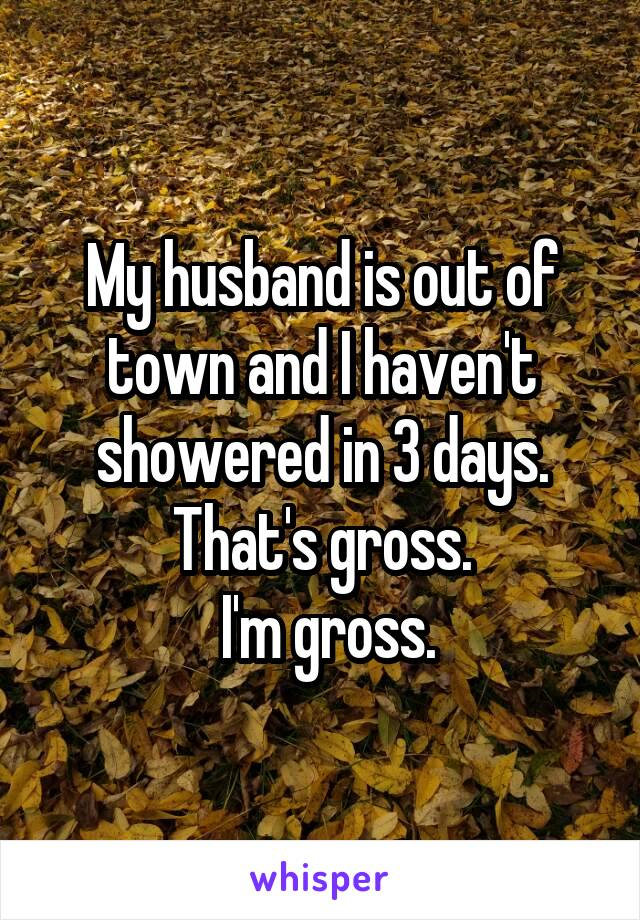 My husband is out of town and I haven't showered in 3 days. That's gross.  I'm gross.