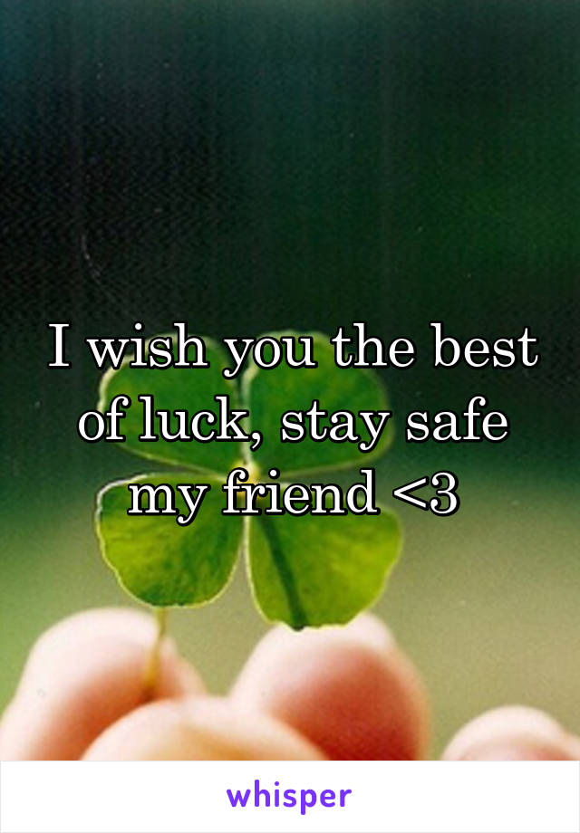i wish you the best of luck stay safe my friend