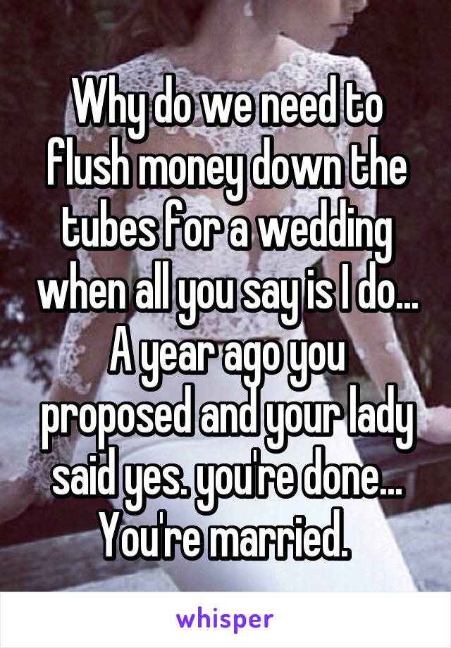 Why do we need to flush money down the tubes for a wedding when all you say is I do... A year ago you proposed and your lady said yes. you're done... You're married.