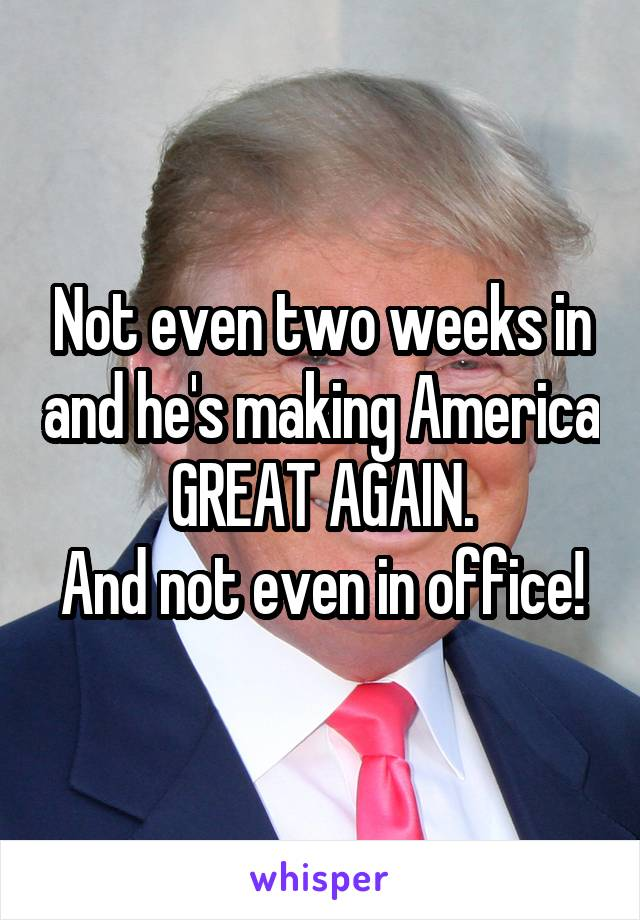 Not even two weeks in and he's making America GREAT AGAIN. And not even in office!
