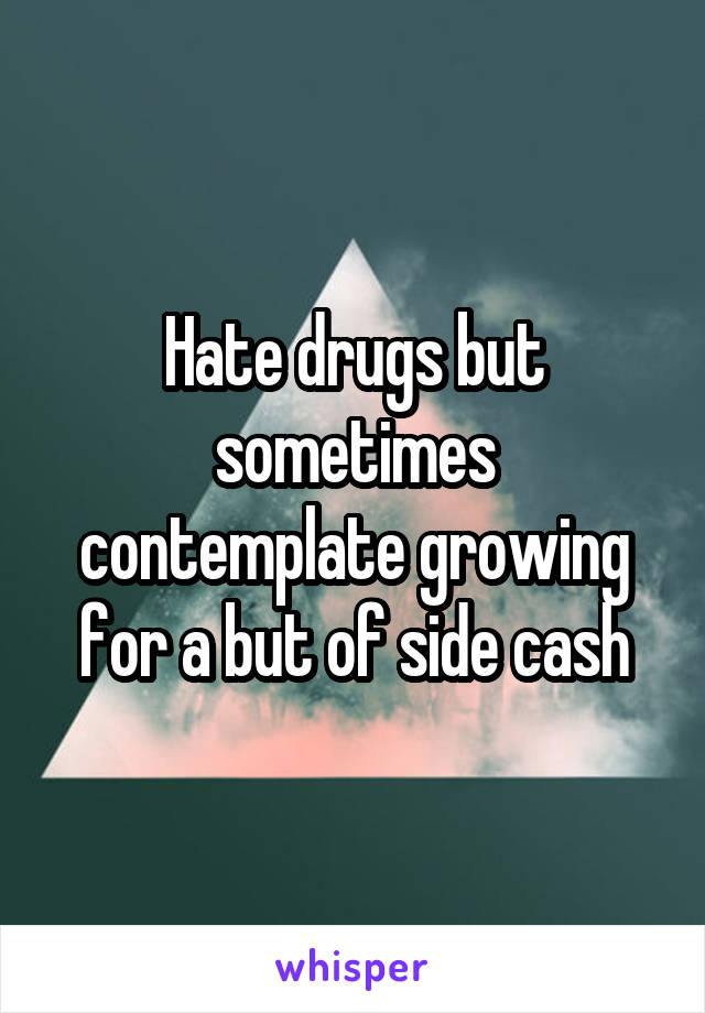 Hate drugs but sometimes contemplate growing for a but of side cash