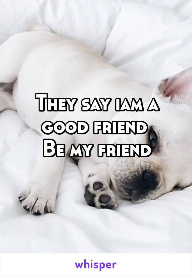 They say iam a good friend  Be my friend