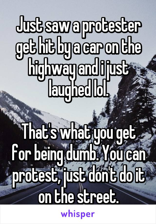 Just saw a protester get hit by a car on the highway and i just laughed lol.  That's what you get for being dumb. You can protest, just don't do it on the street.