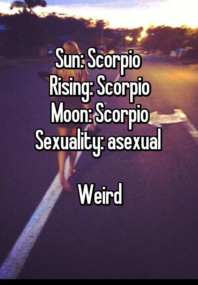Sun: Scorpio Rising: Scorpio Moon: Scorpio Sexuality