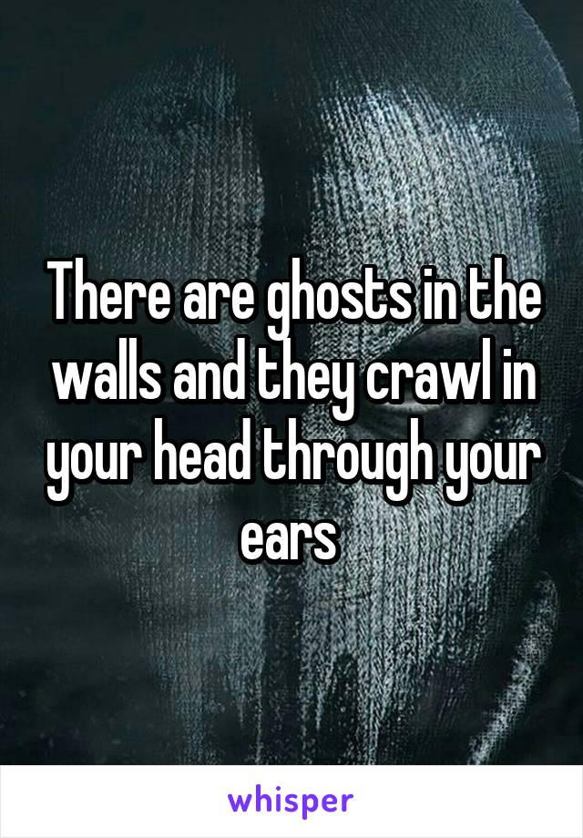 There are ghosts in the walls and they crawl in your head through your ears