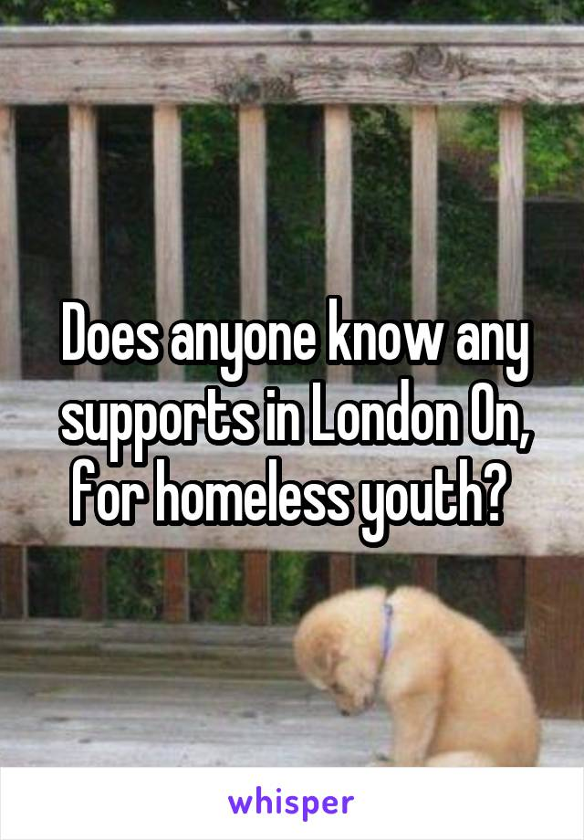 Does anyone know any supports in London On, for homeless youth?