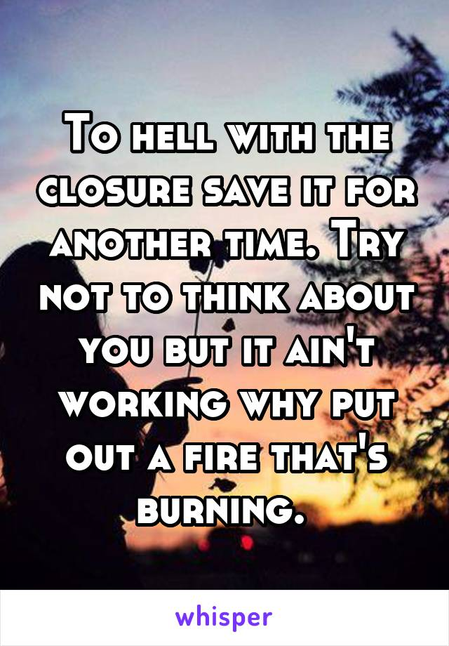 To hell with the closure save it for another time. Try not to think about you but it ain't working why put out a fire that's burning.