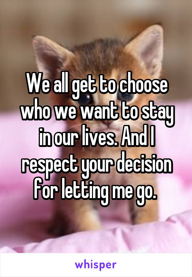 We all get to choose who we want to stay in our lives. And I respect your decision for letting me go.