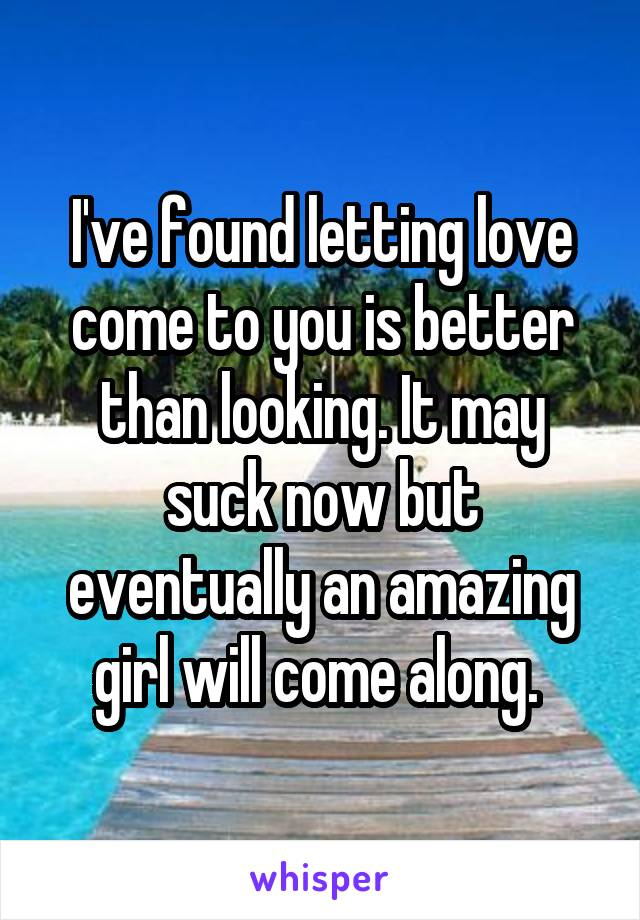 I've found letting love come to you is better than looking. It may suck now but eventually an amazing girl will come along.