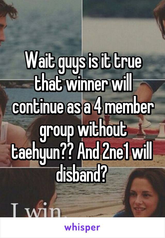 Wait guys is it true that winner will continue as a 4 member group without taehyun?? And 2ne1 will  disband?