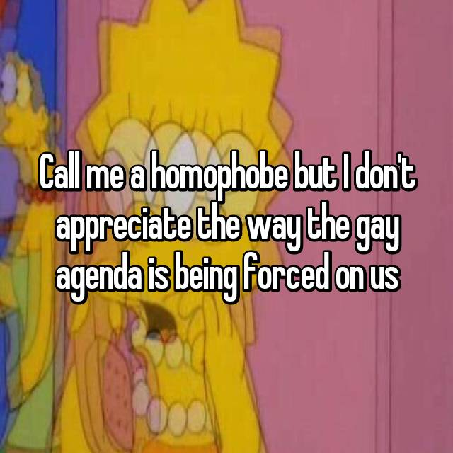 Call me a homophobe but I don't appreciate the way the gay agenda is being forced on us
