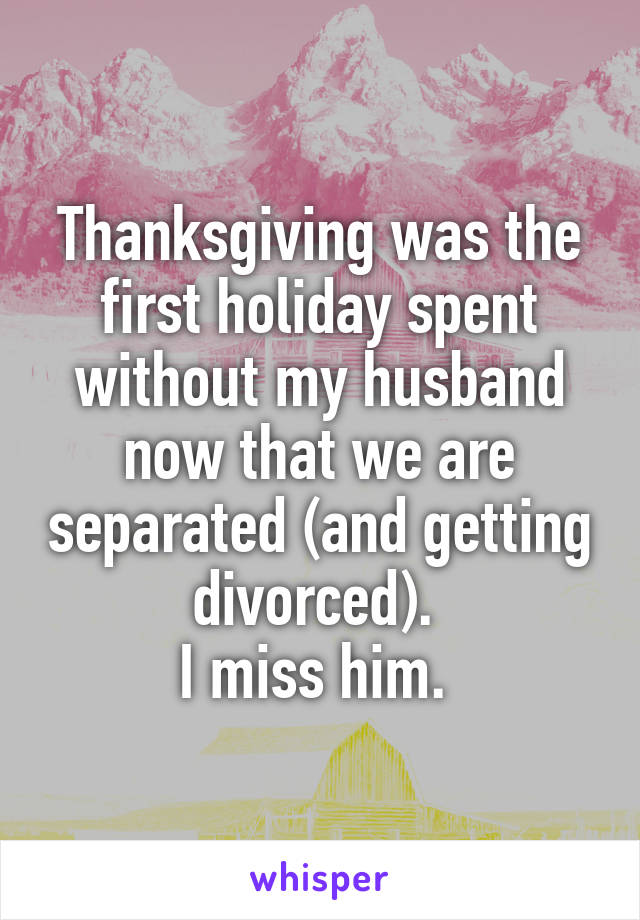 Thanksgiving was the first holiday spent without my husband now that we are separated (and getting divorced).  I miss him.