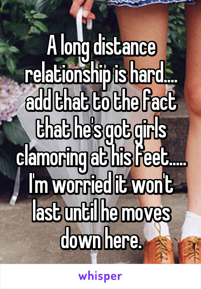 A long distance relationship is hard.... add that to the fact that he's got girls clamoring at his feet..... I'm worried it won't last until he moves down here.