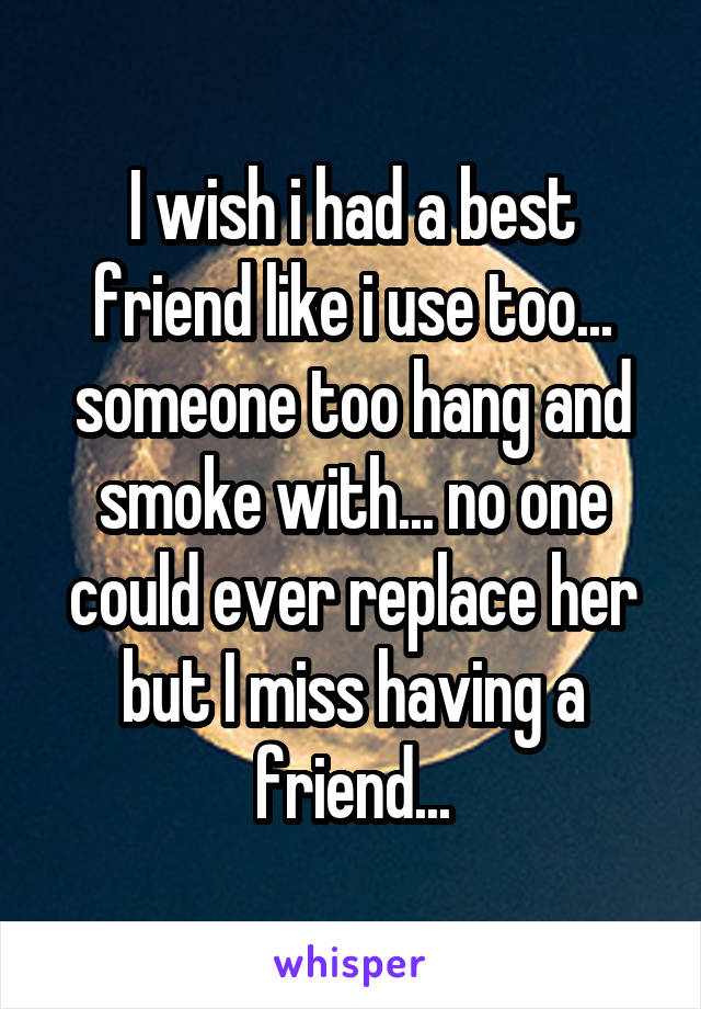 I wish i had a best friend like i use too... someone too hang and smoke with... no one could ever replace her but I miss having a friend...