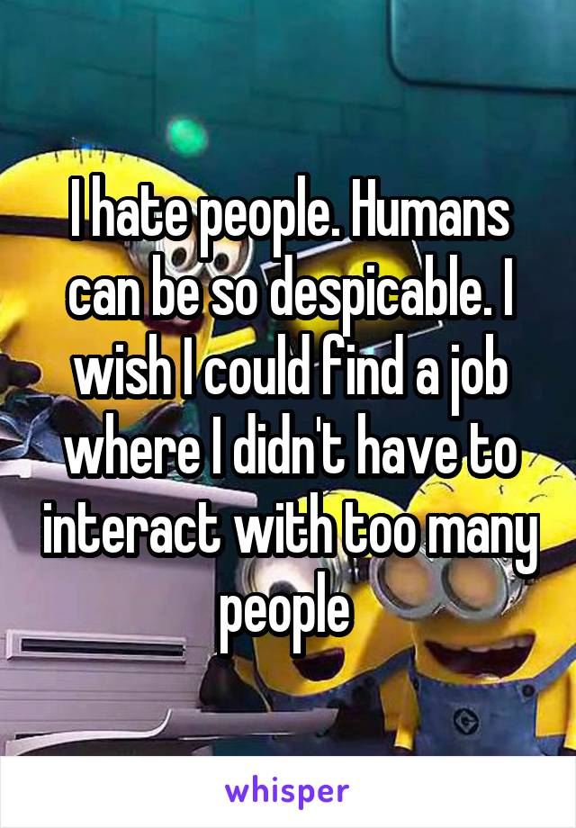 I hate people. Humans can be so despicable. I wish I could find a job where I didn't have to interact with too many people