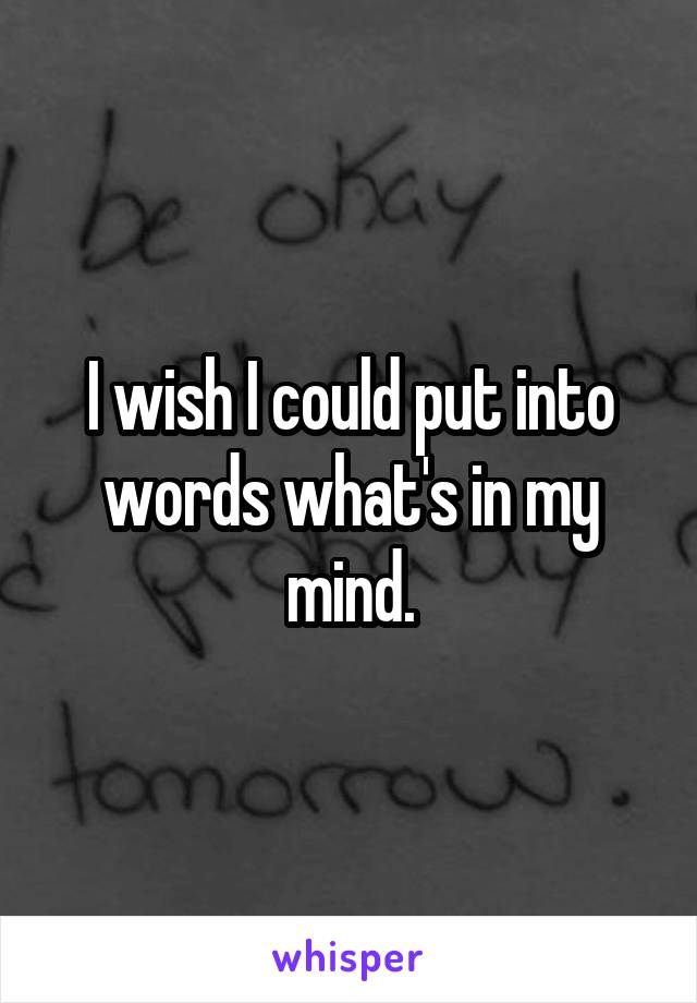 I wish I could put into words what's in my mind.