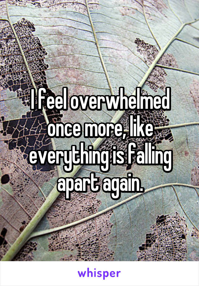 I feel overwhelmed once more, like everything is falling apart again.