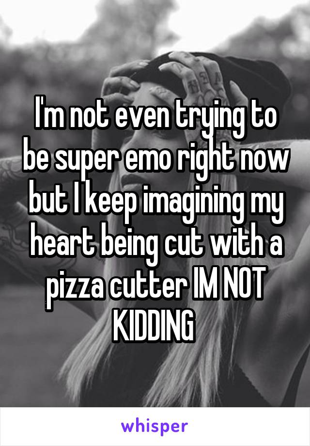 I'm not even trying to be super emo right now but I keep imagining my heart being cut with a pizza cutter IM NOT KIDDING