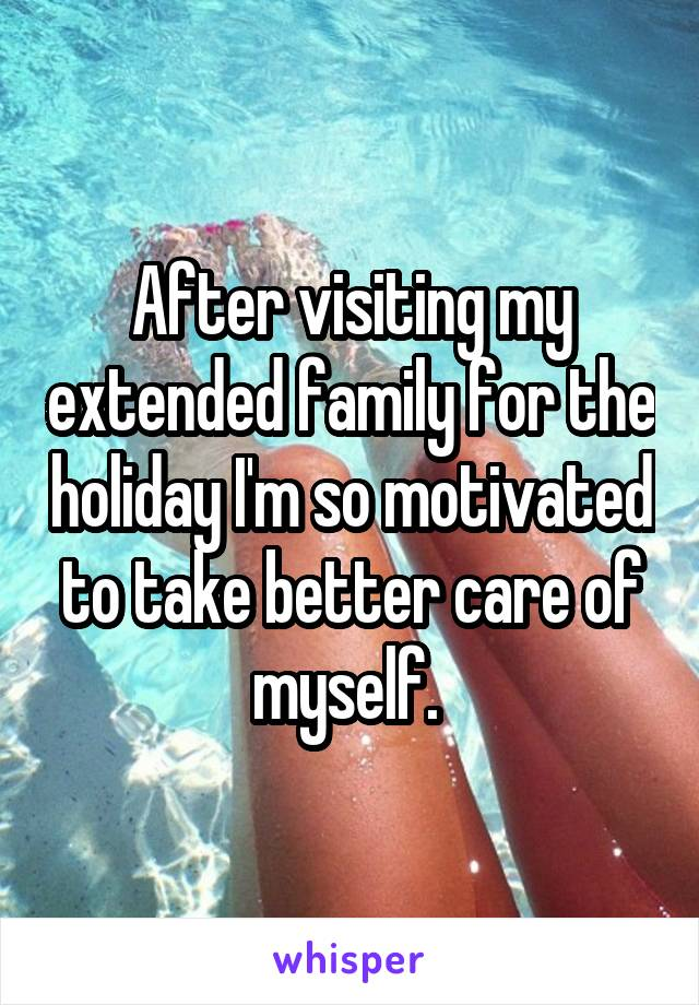 After visiting my extended family for the holiday I'm so motivated to take better care of myself.