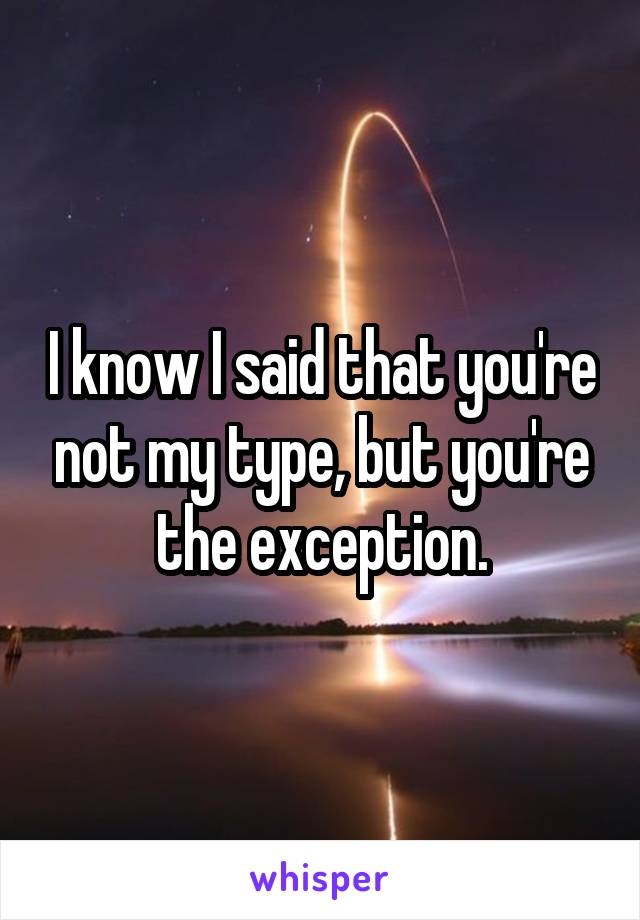 I know I said that you're not my type, but you're the exception.