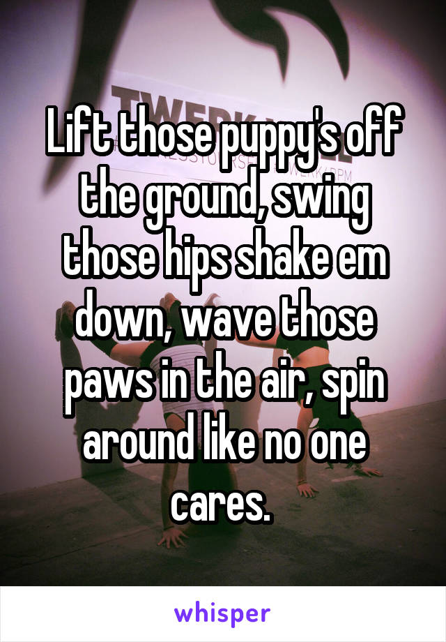 Lift those puppy's off the ground, swing those hips shake em down, wave those paws in the air, spin around like no one cares.