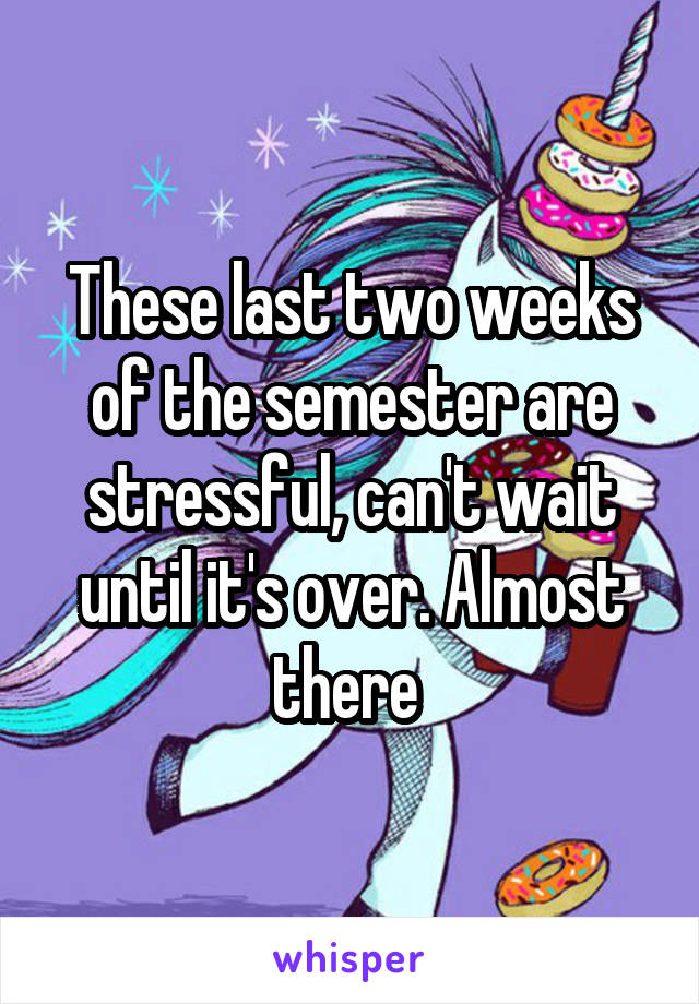 These last two weeks of the semester are stressful, can't wait until it's over. Almost there