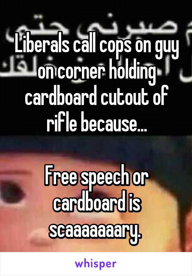 Liberals call cops on guy on corner holding cardboard cutout of rifle because...  Free speech or cardboard is scaaaaaaary.