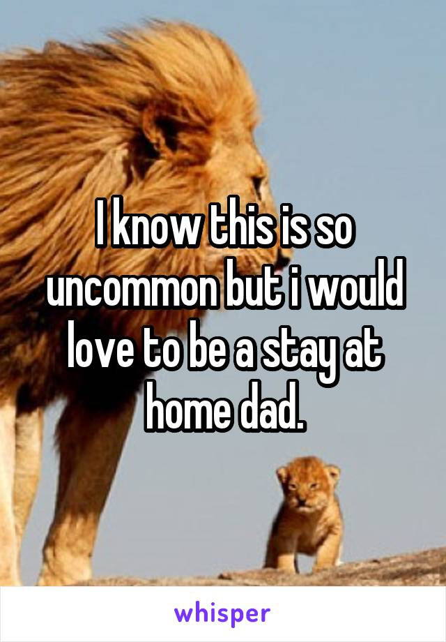 I know this is so uncommon but i would love to be a stay at home dad.