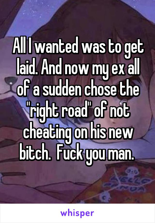"All I wanted was to get laid. And now my ex all of a sudden chose the ""right road"" of not cheating on his new bitch.  Fuck you man."