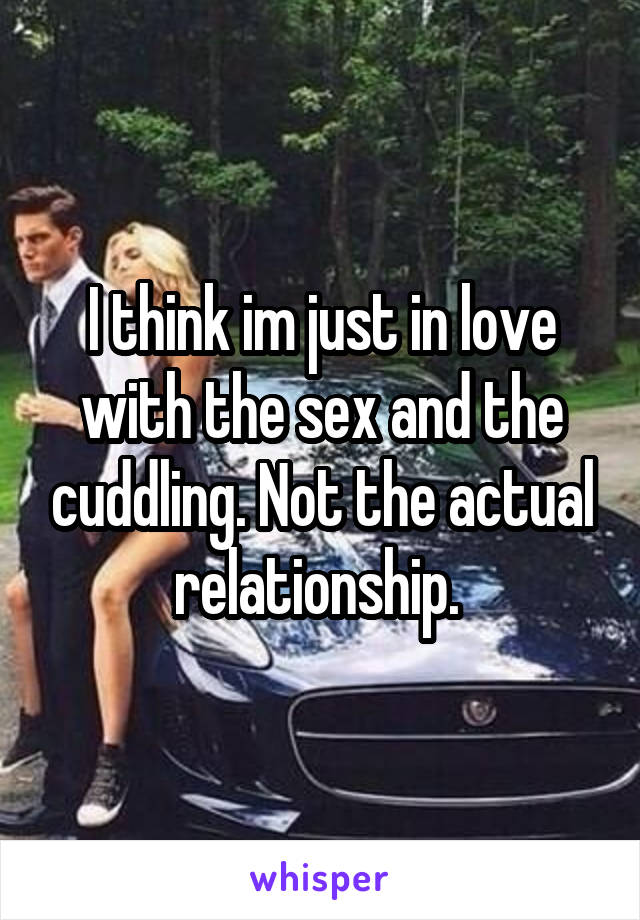 I think im just in love with the sex and the cuddling. Not the actual relationship.