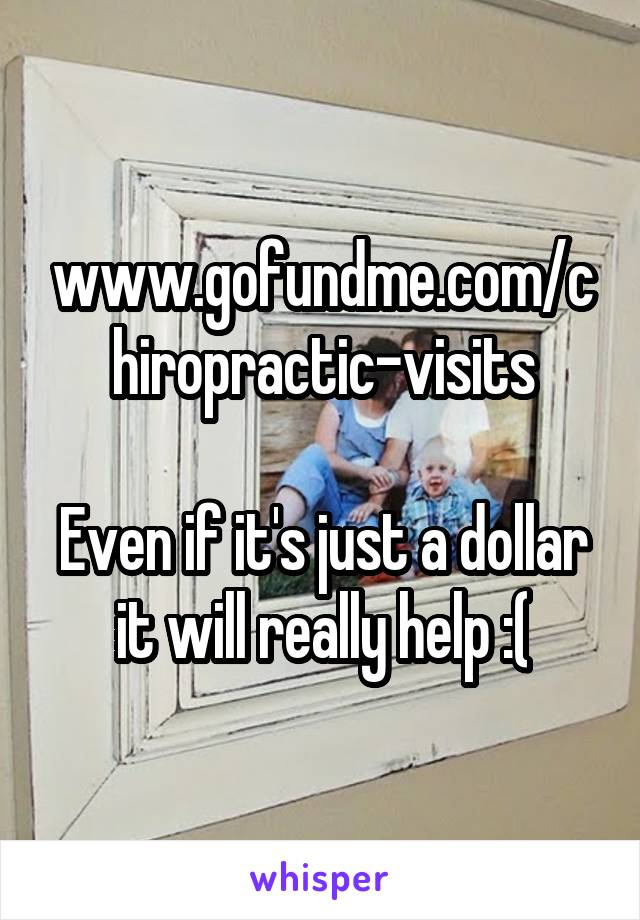 www.gofundme.com/chiropractic-visits  Even if it's just a dollar it will really help :(