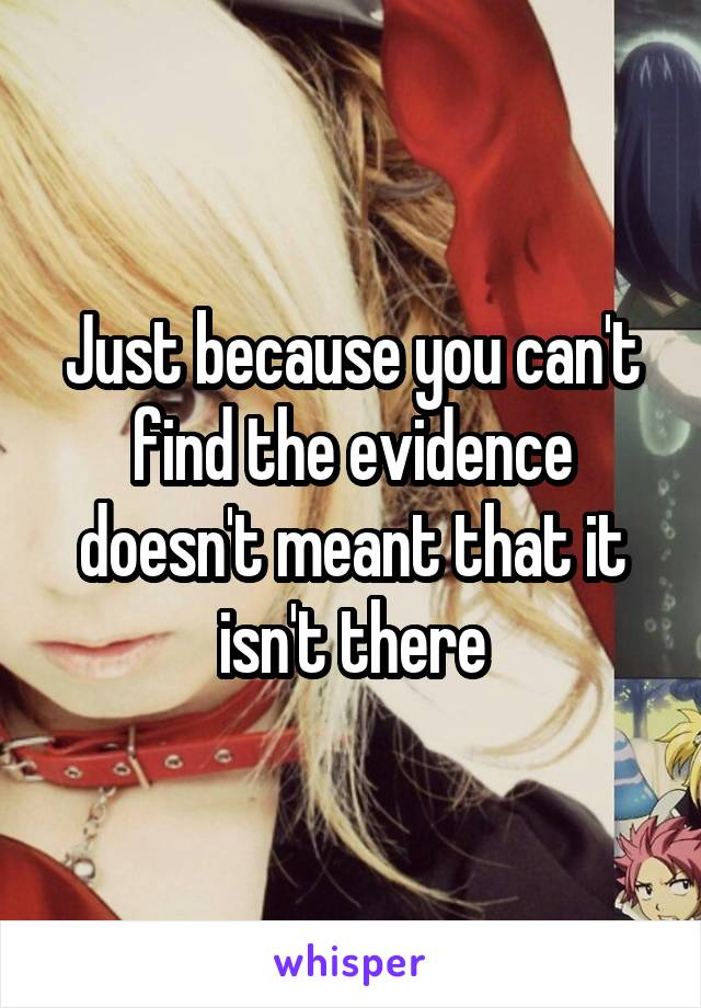 Just because you can't find the evidence doesn't meant that it isn't there