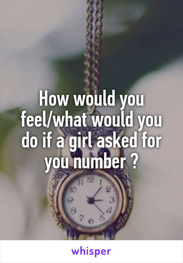 How would you feel/what would you do if a girl asked for you number ?