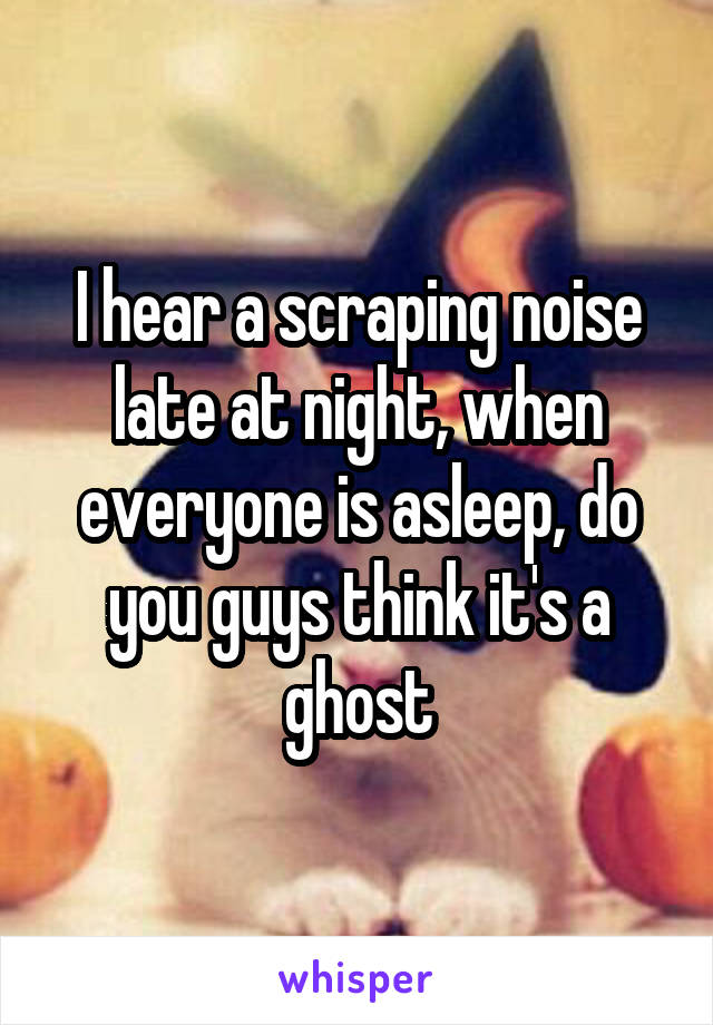 I hear a scraping noise late at night, when everyone is asleep, do you guys think it's a ghost