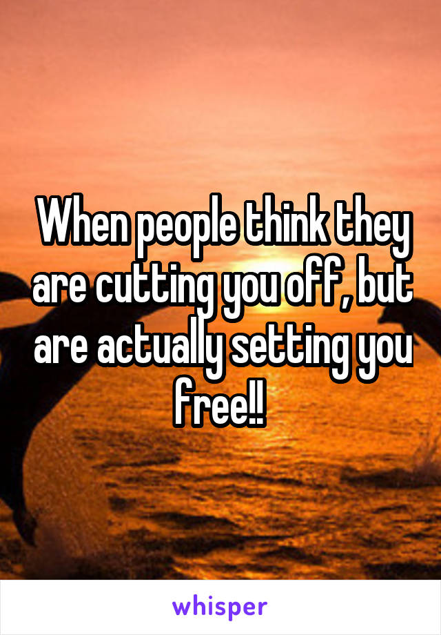 When people think they are cutting you off, but are actually setting you free!!
