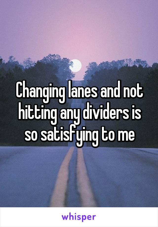Changing lanes and not hitting any dividers is so satisfying to me
