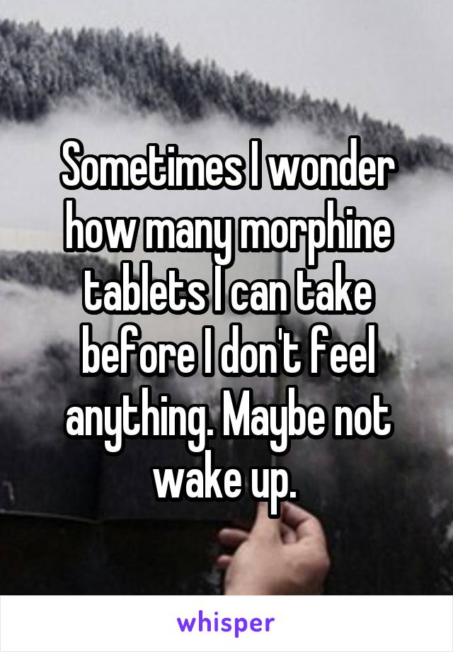 Sometimes I wonder how many morphine tablets I can take before I don't feel anything. Maybe not wake up.